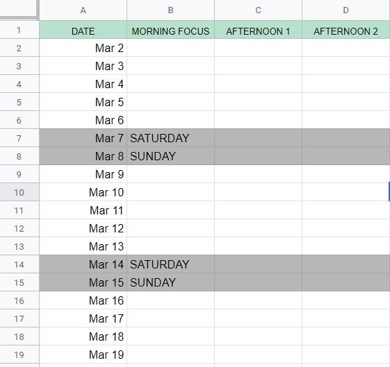 time management spreadsheet